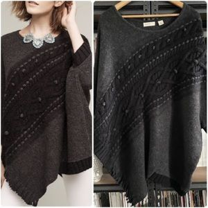 Anthropologie Sleeping on Snow Poncho Knit Sweater